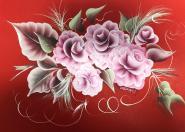 Bild in One Stroke Rosen auf Rot