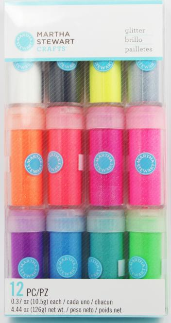 Martha Stewart Crafts Neon-Glitter Set (12 Stück)